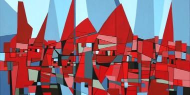 Abstrakt maleri af huse i røde farver