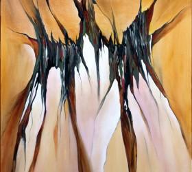 """Abstrakt maleri af noget """"indenfor"""" der ser ud"""