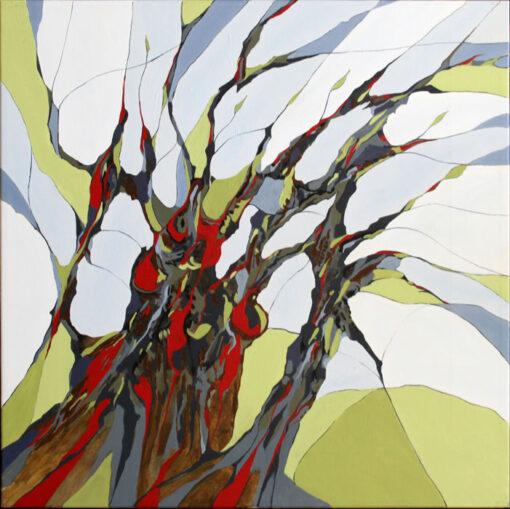 Maleri af vindens rusken i træer
