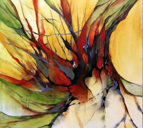 Abstrakt maleri af træstub ved skrænt måske ved Orenæs
