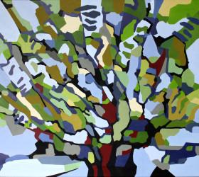 Abstrakt maleri af et gammelt træ.