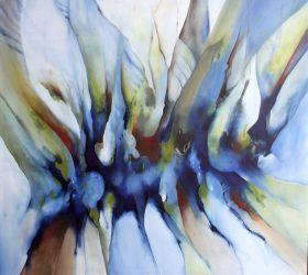 Abstrakt maleri over det blå