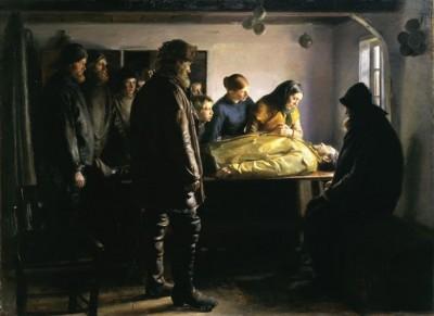 Skagenmalerne vor ofte inspirerede af virkelighedens drama her redningsmanden Lars Kruses død i 1894