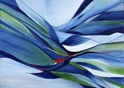 Abstrakt maleri af vandets skiftende former