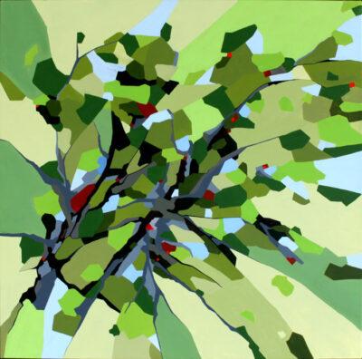 Maleri af skovens tag i naturens farver