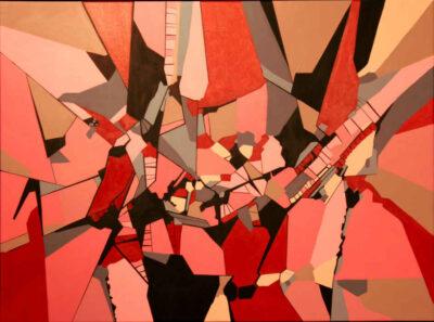 Abstrakt maleri Rød komposition